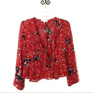 IRO Ruffle Floral Print Top Sheer Red & Black S